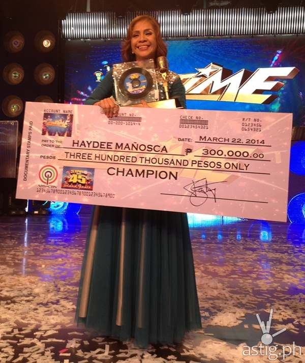 Stars on 45 grand winner Haydee Manosca