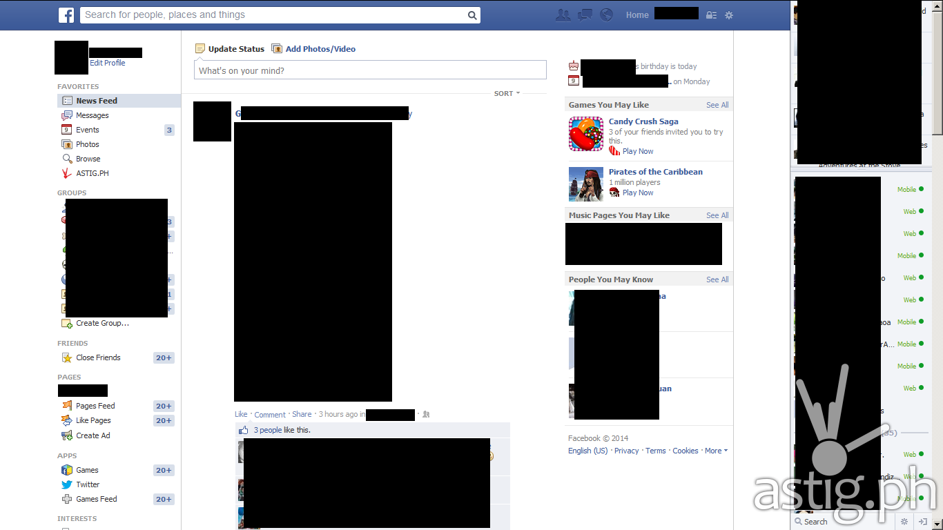 Facebook  news feed old design