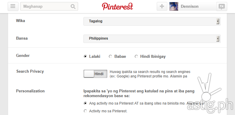 Pinterest Tagalog Filipino language option