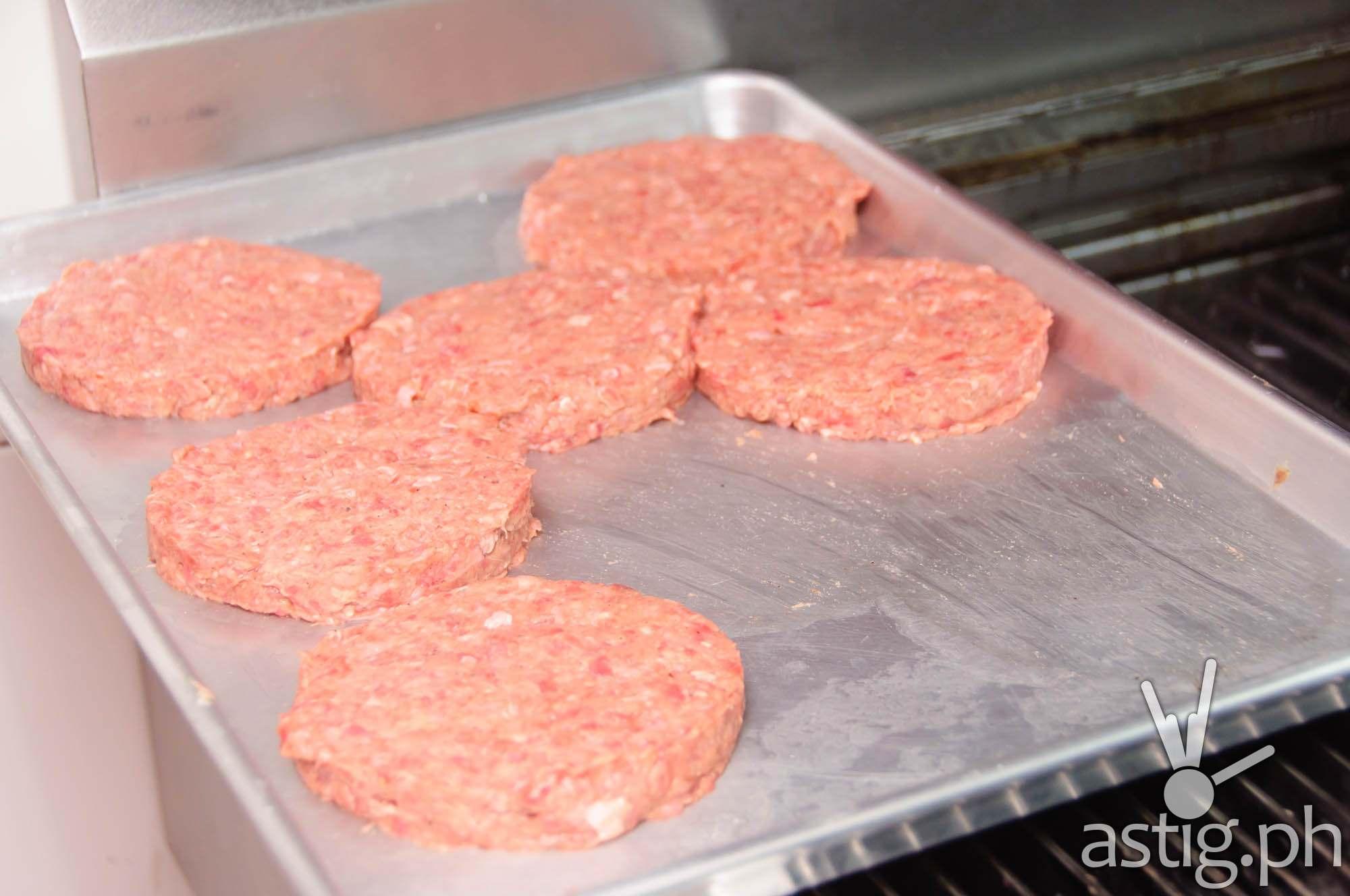 1/3 pound burger patties at Wham! Burger