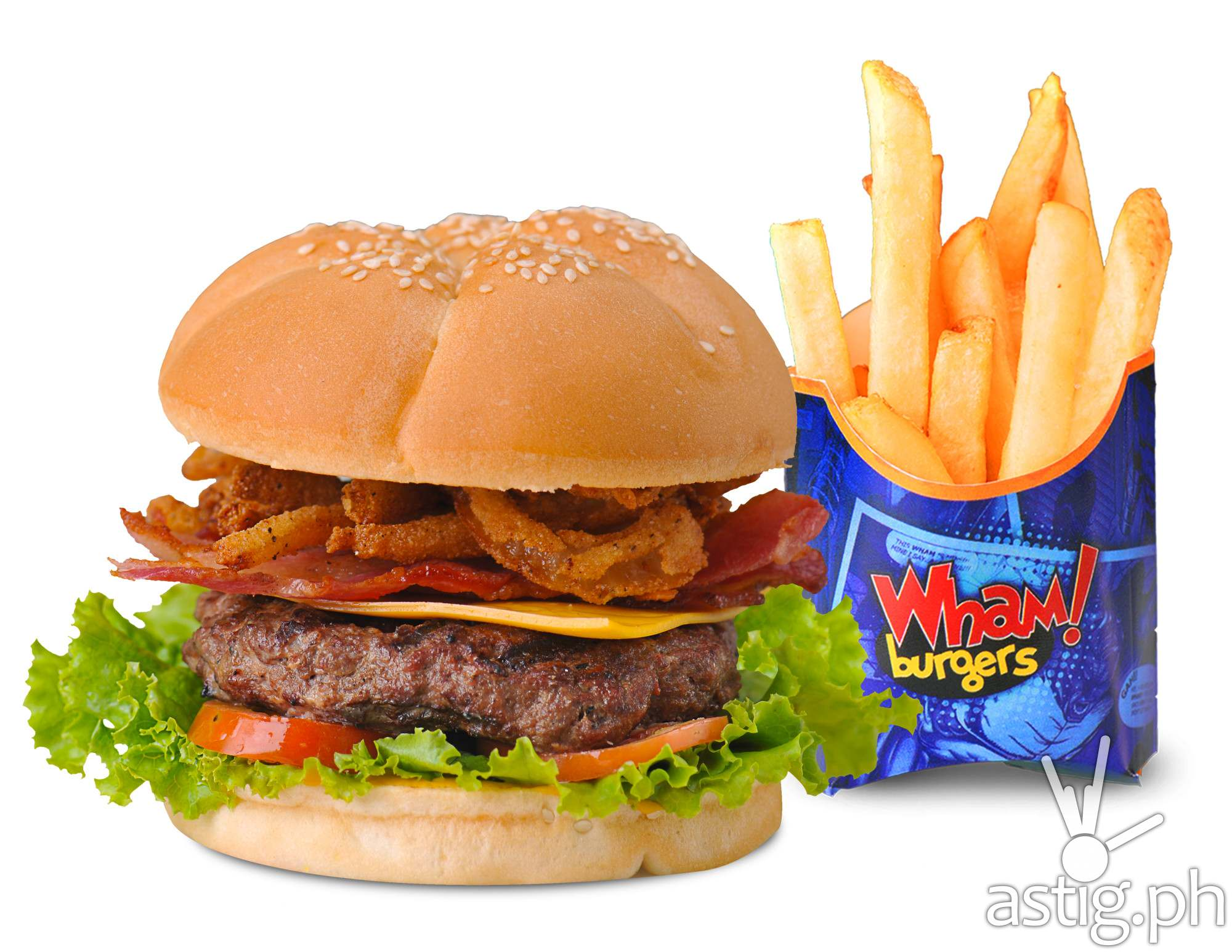 Wham! burger with fries