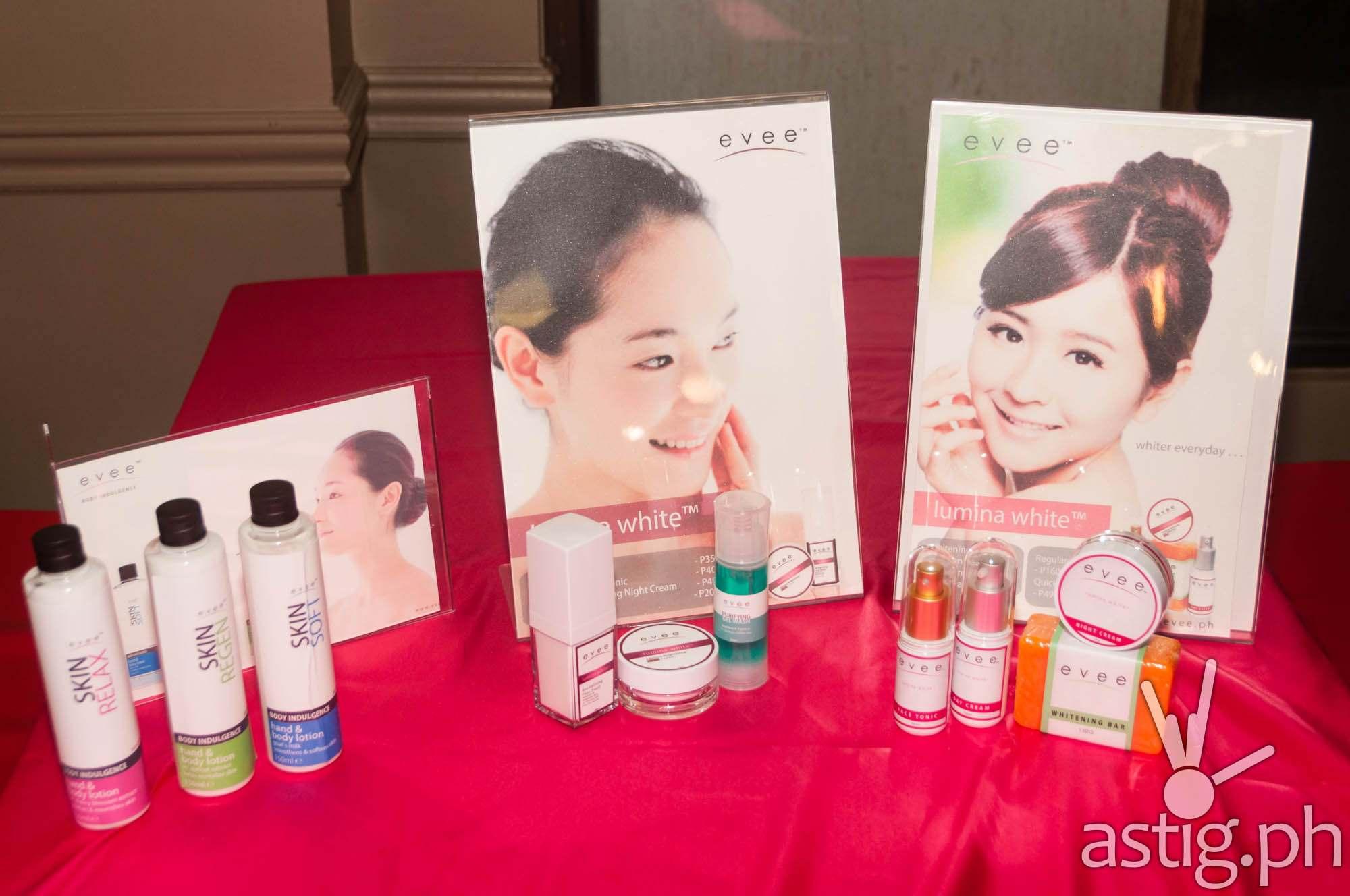 Evee lumina white and body indulgence line of skin care products