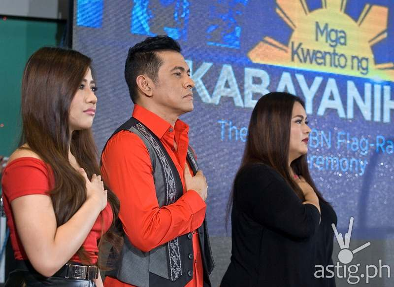 Morisette Amon, Gary Valenciano, and Radha Tinsay perform at ABS-CBN flag-raising ceremony themed Mga Kwento ng Kabayanihan to honor Filipino heroism