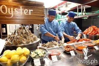 Boston lobsters, Fine de Claire Oysters buffet at Marriott Café