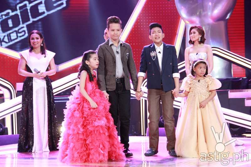 Darlene, Juan Karlos, Darren, and Lyca with their coaches before the announcement of the grand champion