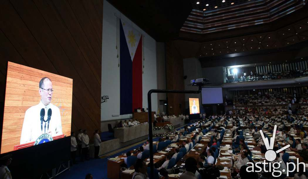 Philippine President Benigno S. Aquino III delivers his fifth State of the Nation Address (SONA) at the Session Hall of the House of Representatives on July 28, 2014