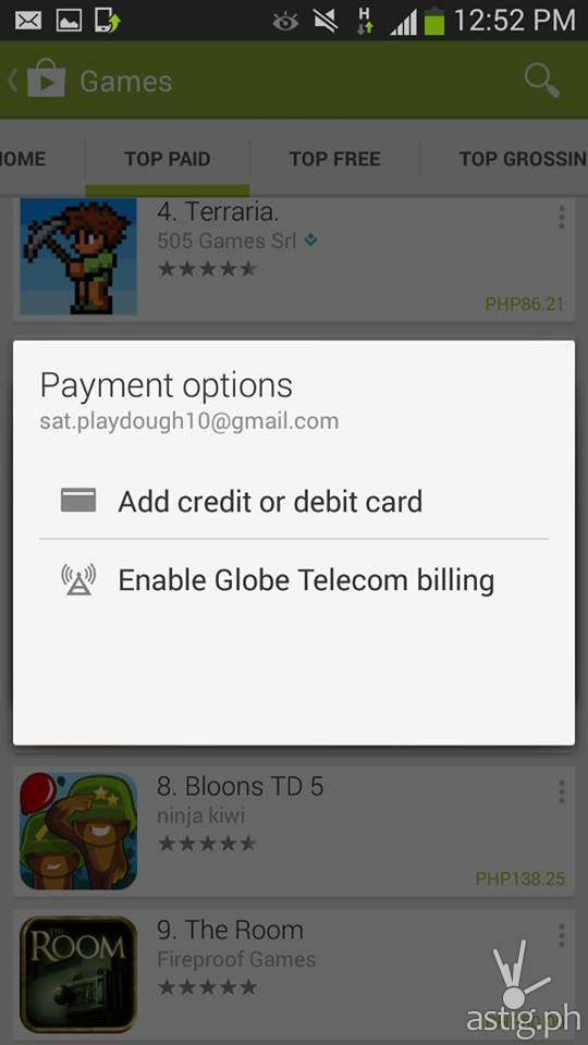 Step 2: Choose the Globe Telecom billing payment option