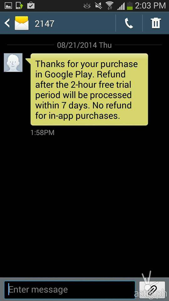 Step 5: Success! You should receive text message confirming your purchase