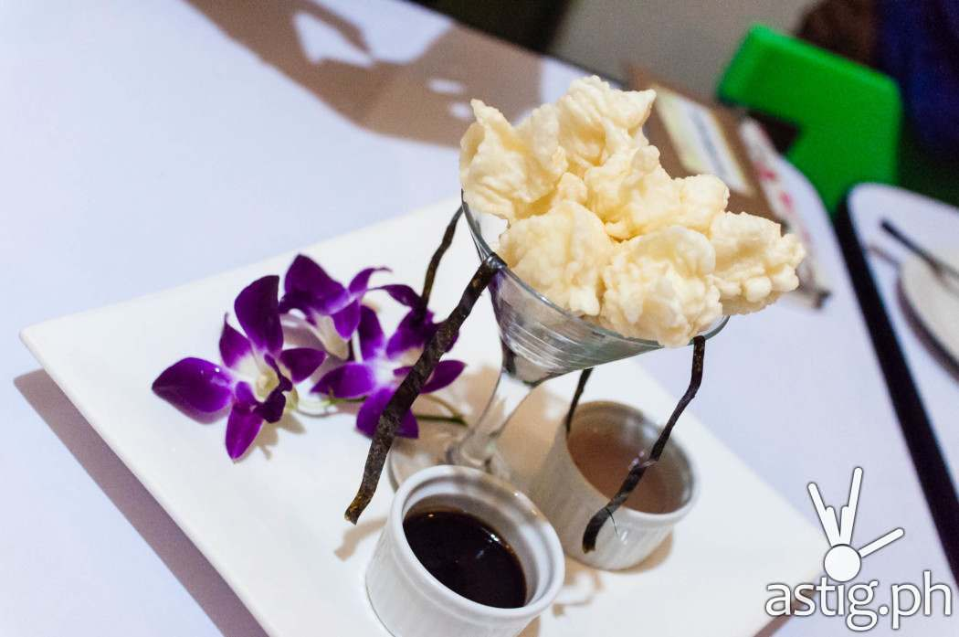 Quail egg tempura with soy mirin glaze and sinamak (120 PHP)