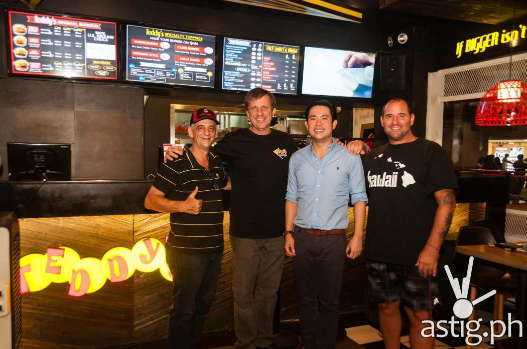 Rich Stula and Ted Tsakiris with Teddy's Bigger Burgers Philippines owner Ricky Laudico