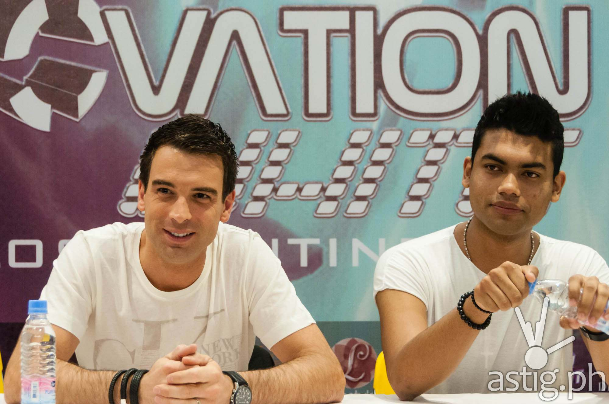 Jochen Miller and KhoMha at the press conference for Bigfish Manila's Innovation White: The Lost Continent