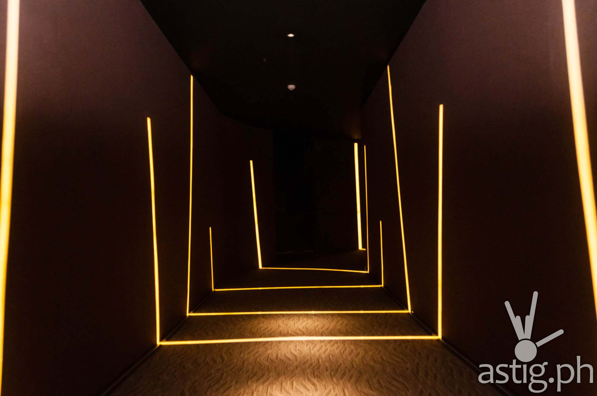 The hallways of the New Promenade cinemas are lined with led lights which not only guide moviegoers but also serves as a visual treat