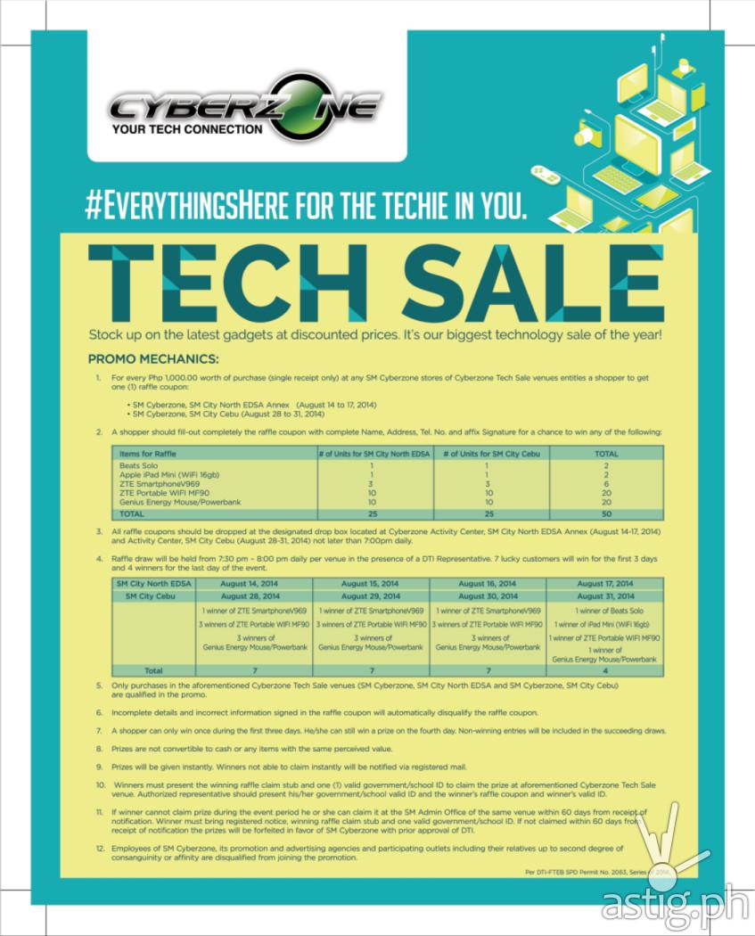 SM Cyberzone Tech Sale 2014 poster