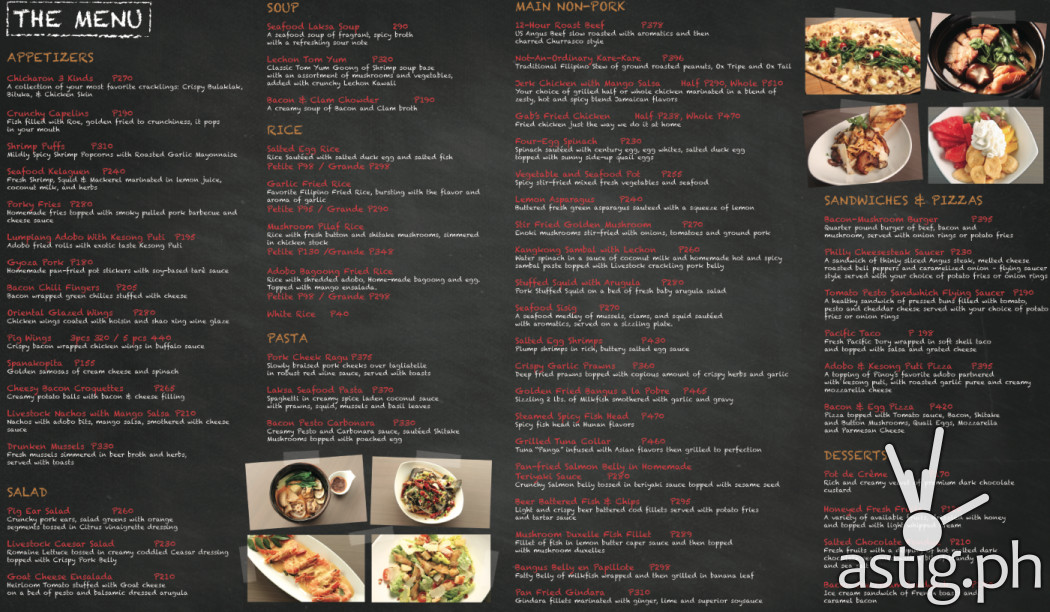 Livestock Restaurant & Bar menu with price