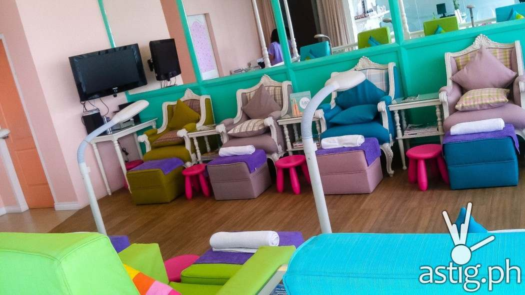 Nice, pastel-colored chairs at Make Me Blush Nail Spa