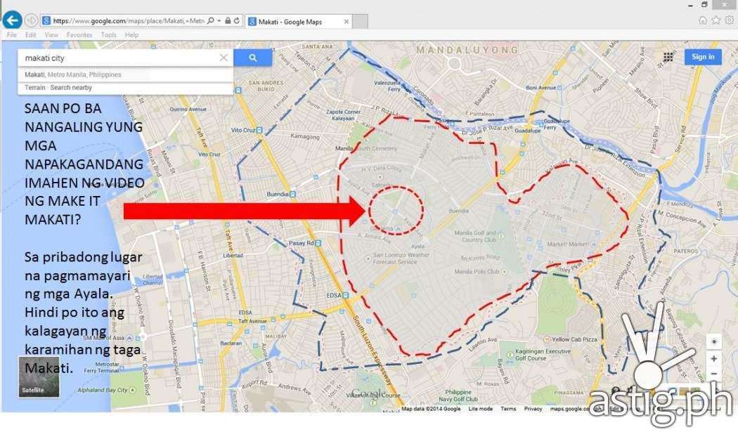 Map showing the portion of Makati where the Make it Makati (Ganito Kami Sa Makati) video was taken