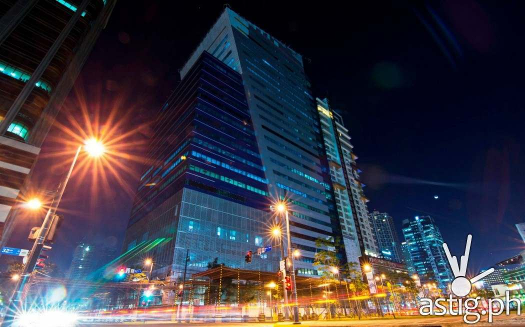 Night shot: Globe Tower is located on the corner of 32nd street and 7th avenue in Bonifacio Global City, Taguig