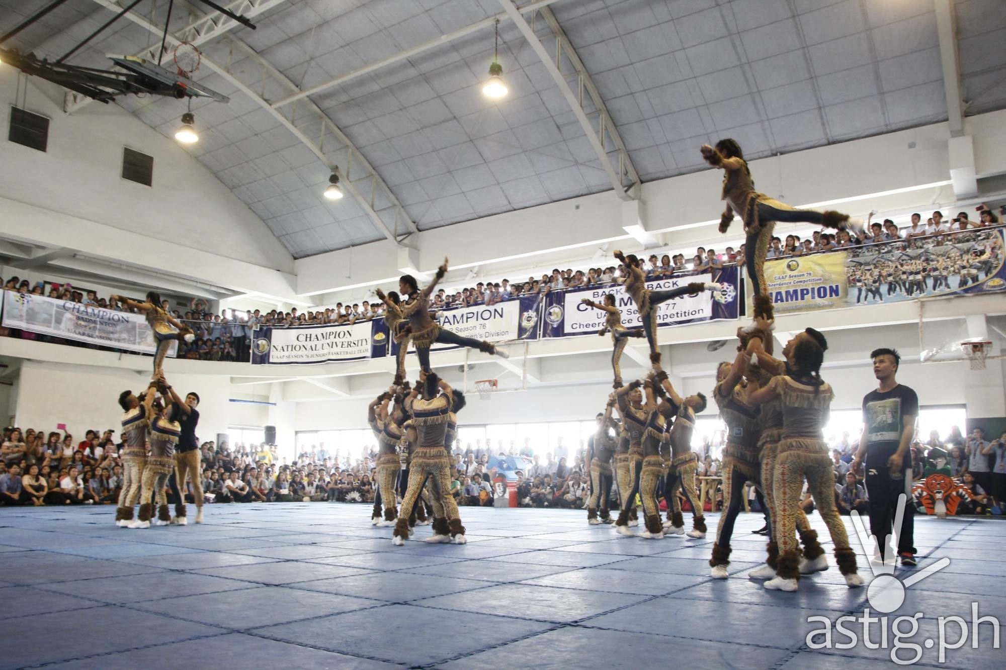 National University (NU) performs UAAP Cheer Dance competition routine