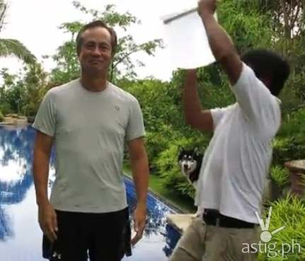 ABS-CBN chairman Eugenio 'Gabby' Lopez III accepts the ice bucket challenge
