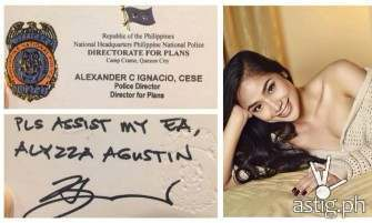Alyzza Agustin uses PNP Director's name to escape traffic violations