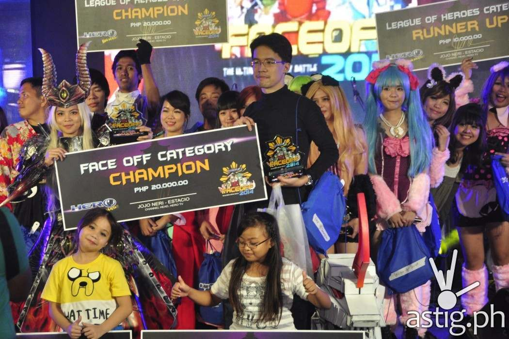 Best of Anime 2014 winners gather onstage with their victory pose