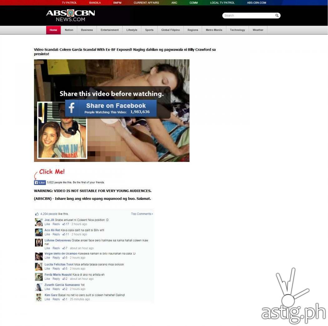 Screenshot of the fake phishing site that looks like ABS-CBN News and offers a video of Coleen Garcia's sex scandal with her ex-boyfriend
