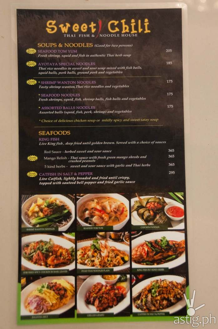 Sweet Chili menu with price