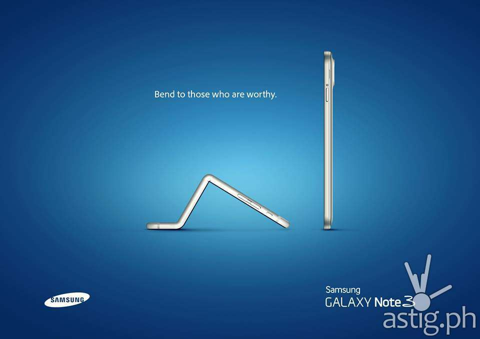 iPhone 6 bends over to the Samsung Galaxy Note 3 in this clever advertisement