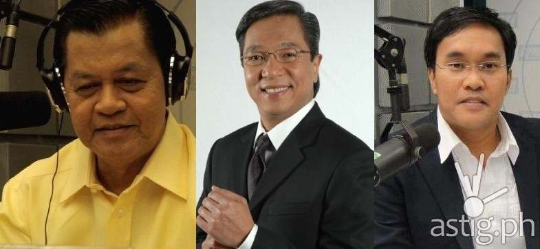 DZMM anchors Kabayan Noli De Castro, Ted Failon, and Gerry Baja