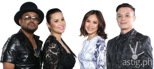 The Voice coaches Apl de Ap, Lea Salonga, Sarah Geronimo, Bamboo