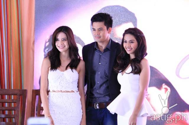 The main cast of ABS-CBN's upcoming TV series 'Two Wives' (Erich Gonzales, Jason Abalos, and Kaye Abad)