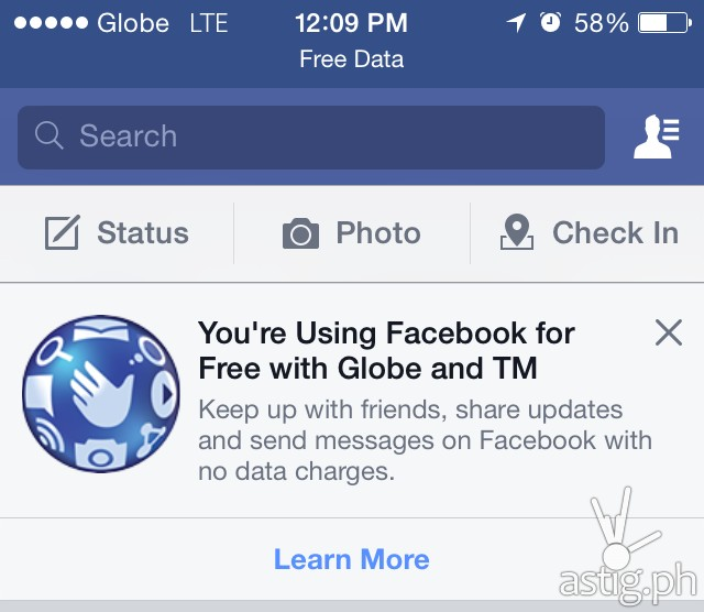 Globe free Facebook service