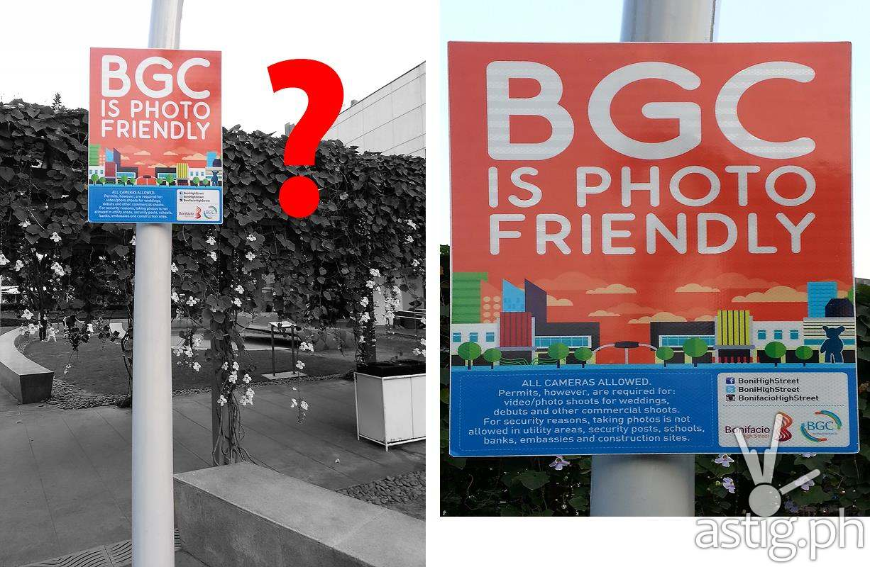 """BGC is Photo Friendly"" traffic sign found in Taguig City"