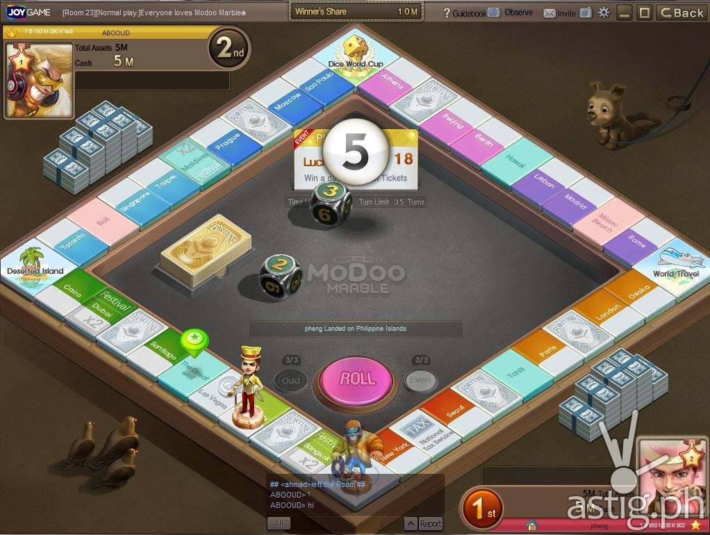 Modoo Marble game board showing various cities and historic places around the world