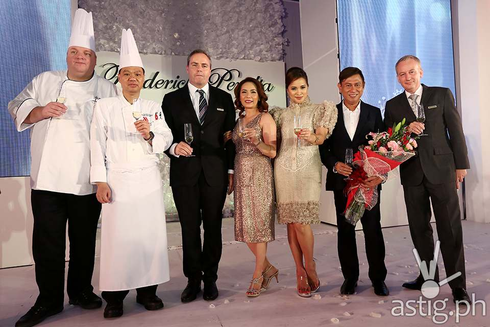 The ceremonial toast: Executive Chef Meik Brammer, Executive Chinese Chef Law Wui Wing, Director of Food and Beverage Brendan Mahoney, Director of Marketing Cristy Carreon, Director of Marketing Communications Michelle Garcia, Frederick Peralta and General Manager Bruce Winton)