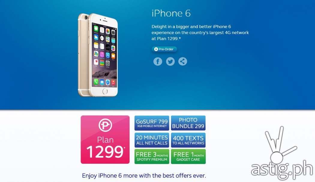 At plan 1299, subscribers can avail of the iPhone 6 with 800 PHP monthly cashout for 24 months