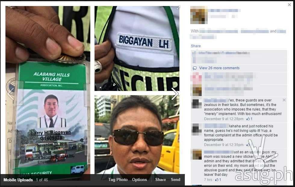 Screencap of the Facebook post showing Alabang Hills Village guard Larry Biggayan