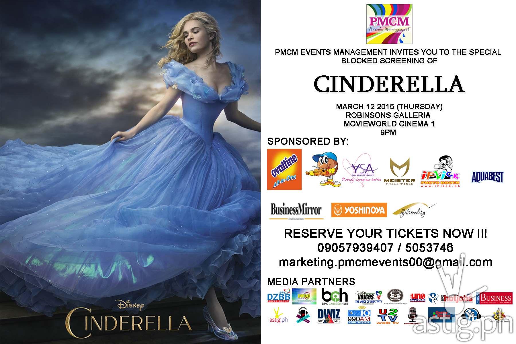 Movie Posters 2015: Cinderella Movie Block Screening [giveaway]