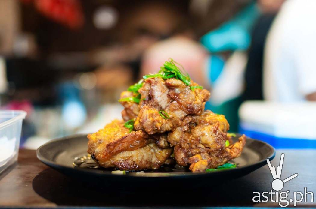 Chicken karaage with house special negi sauce (265 PHP) at Ramen Sora