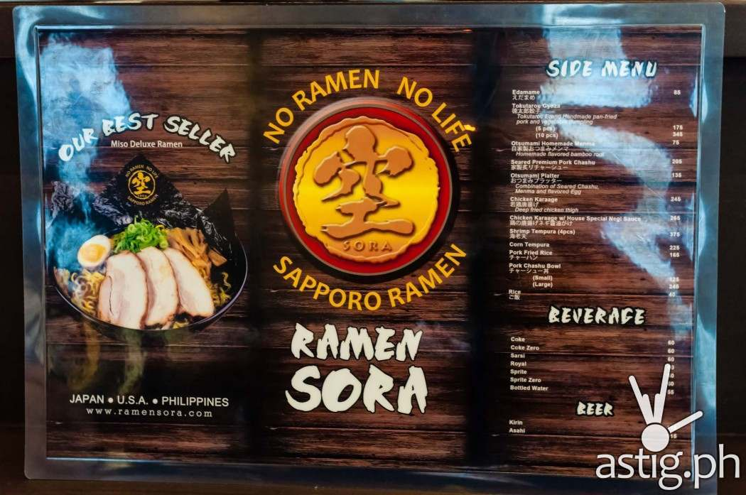 Ramen Sora menu makes things really simple - if it's your first time, you can never go wrong with the Miso Deluxe Ramen