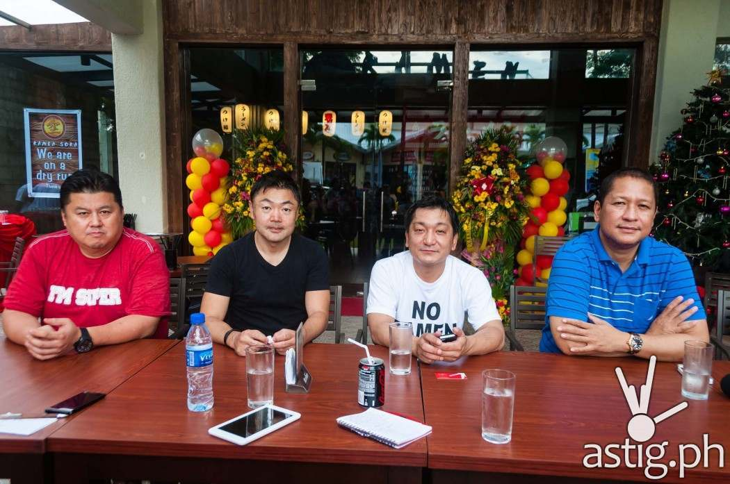 Gerry Apolinario (far right) with Ramen Sora founder Chef Yoshi Ishise (third to the right) at the soft opening of Ramen Sora in Subic