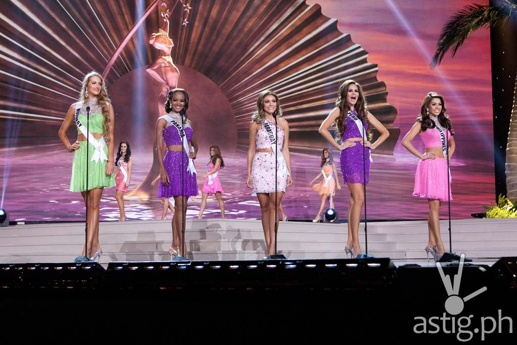 Elise Dalby, Miss Norway 2014; Yomatsy Hazlewood, Miss Panama 2014; Sally Jara, Miss Paraguay 2014; Jimena Espinosa, Miss Peru 2014; and Mary Jean Lastimosa, Miss Philippines 2014; on stage in fashion by Sherri Hill and footwear by Chinese Laundry during the opening of the Miss Universe Preliminary Show at the FIU Arena on Wednesday January 21st. The 63rd Annual MISS UNIVERSE® Pageant contestants are touring, filming, rehearsing and preparing to compete for the DIC Crown in Doral-Miami, Florida. Tune in to the NBC telecast at 8:00 PM ET on January 25, 2015 live from the FIU Arena to see who will be crowned the 63rd Miss Universe. HO/Miss Universe Organization L.P., LLLP