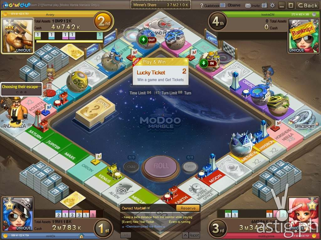 Modoo Marble space game board