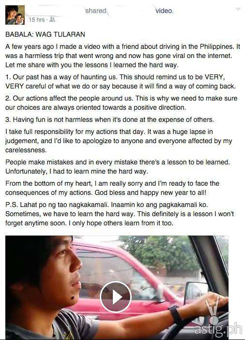 """Regret-filled Facebook apology by the """"Best Mode"""" driver where he lists the lessons that he learned from the incident"""