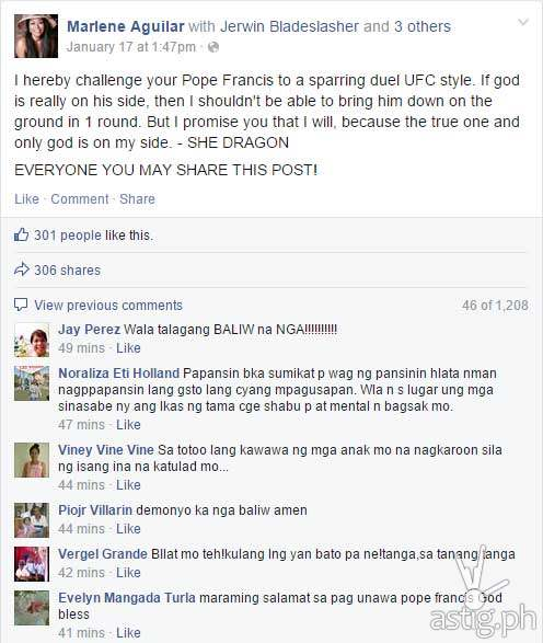 Screenshot of Marlene Aguilar's rants against Pope Francis and the Catholic church taken from her Facebook wall