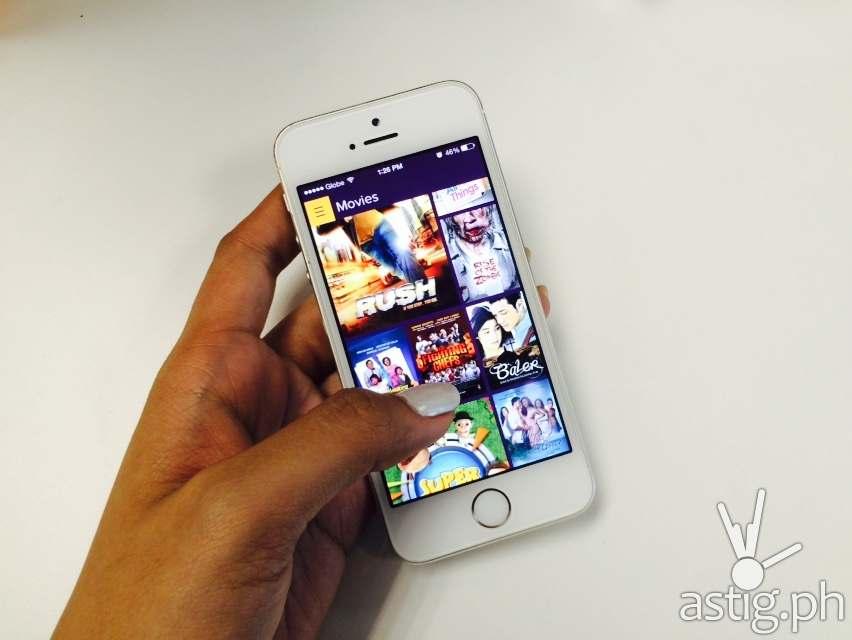HOOQ app running on a Globe powered iPhone