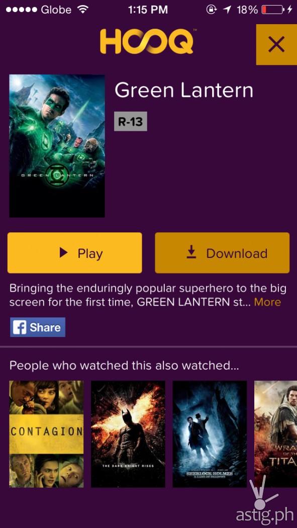 Screenshot of HOOQ app running on a Globe powered iPhone
