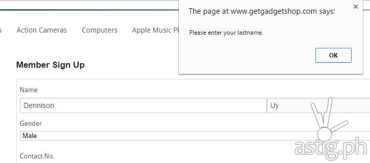 The signup page at GetGadget Shop requires at least 2 characters in the last name field