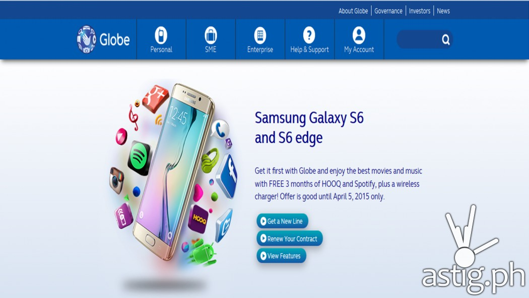 Samsung Galaxy S6 / S6 Edge Globe Telecom Pre-order site