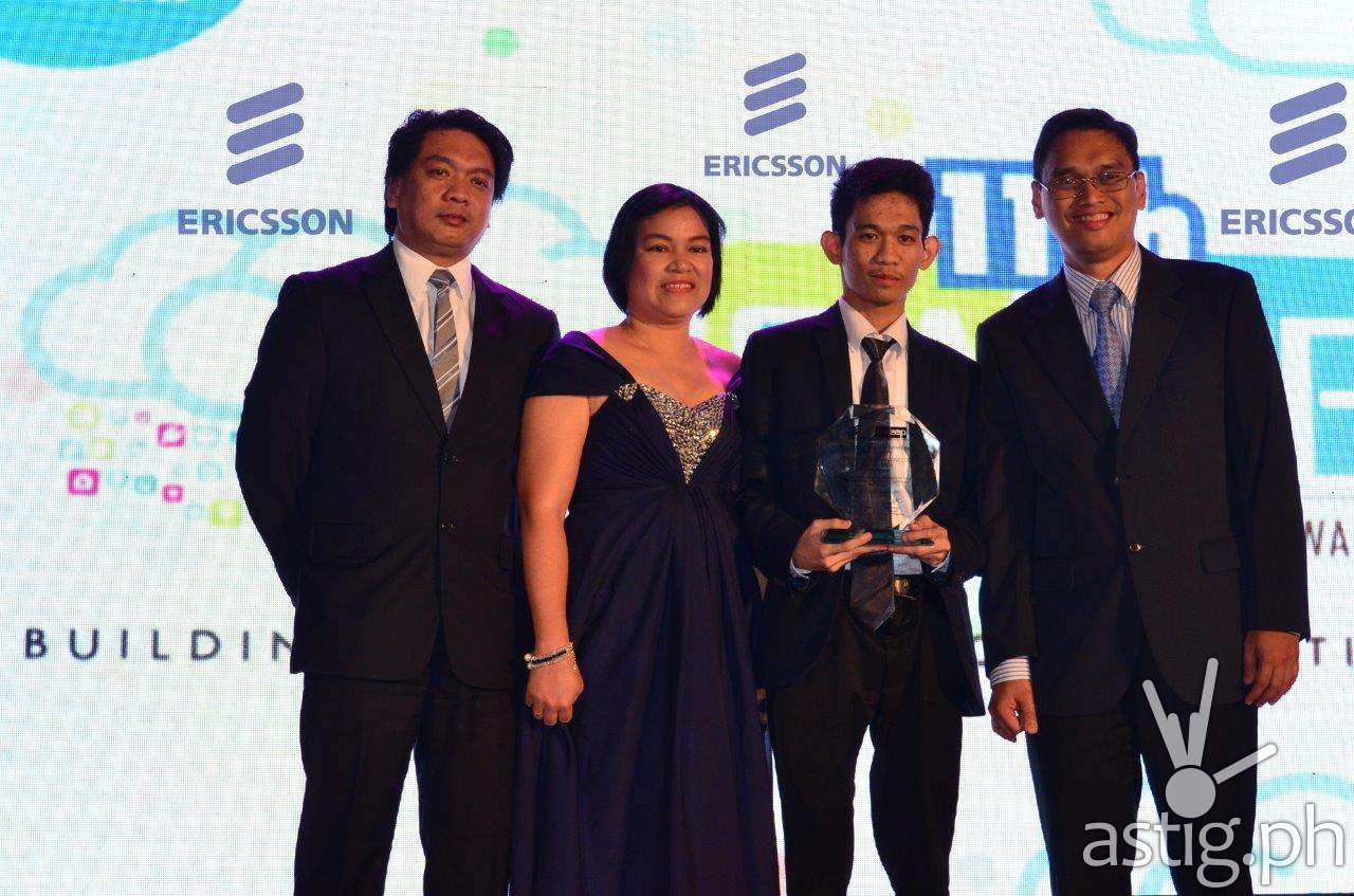 From left: Edwin Ubalde, Ericsson Philippines Head of Sales and Engagement Practice; PLM Faculty Mentor Eufemia Garcia, PLM team leader Gabriel Justin Dimailig, and Lawrence Macalintal, Ericsson Philippines Head of Networks.